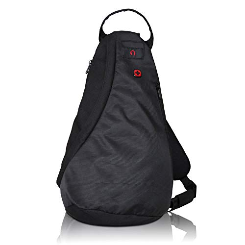 WENGER Premium Cross Body Bag, sportliche Umhängetasche für Damen und Herren, Sporttasche, Schultertasche für Skifahren, Snowboard, Outdoor, 10 Liter, Schwarz