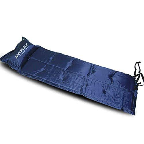 HOUMEL Autogonflant de Couchage Matelas Gonflable Camping Pad Unique Peut être surpiqué humidité Pad Mat Pique-Nique for l'extérieur Randonnée pédestre Tente (Color : Blue, Size : 185 * 60 * 3cm)