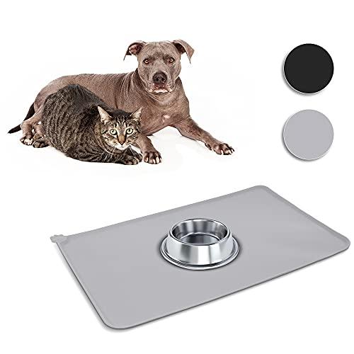 Napfunterlage für Hunde und Katzen Napfunterlage Silikon Futtermatte Wasserdicht rutschfeste Für Katzen und kleine Hunde (Grau)