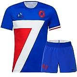 Maillot de Rugby Saison 2020 France, Manches Courtes + Short à séchage Rapide, Cadeau d'anniversaire pour Homme-blueSuit-L