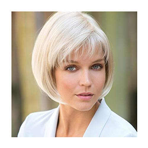 Short Platinum Blonde Bob Wigs with Bangs for White Women Natural Hair Wigs Synthetic Full Lace Human Hair Wigs for Daily