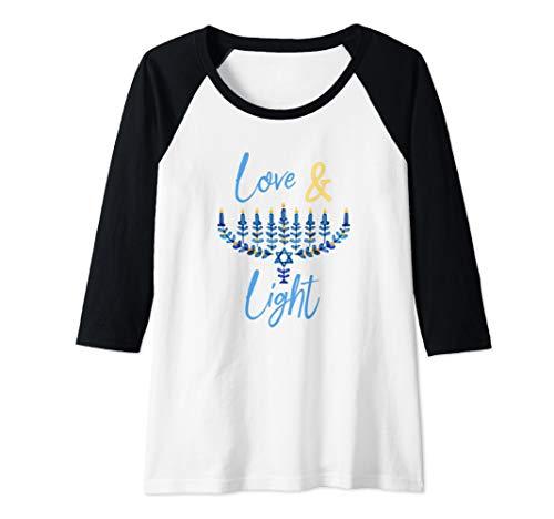 Womens Hanukkah Love And Light Quote Jewish Chanukah Blue Menorah Raglan Baseball Tee