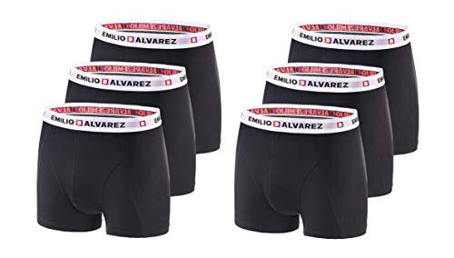 EMILIO ALVAREZ Lot de 6 Boxers pour Homme Noir/Blanc Taille XXL