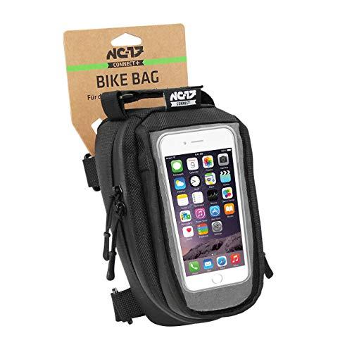 NC-17connect, custodia per smartphone per bicicletta, custodia per il tubo orizzontale oppure per il piantone con chiusura in velcro per l'iPhone della serie Samsung Galaxy, custodia universale per il cellulare con comparto portaoggetti e passaggio per i cavi, impermeabile, adatto a tutti i tipi di bicicletta, colore nero, Unisex, Smartphonetasche Universal Oberrohrtasche für I-phone Samsung LG HTC, nero, 19.0 x 10.2 x 10.0 cm, 2.0 Liter