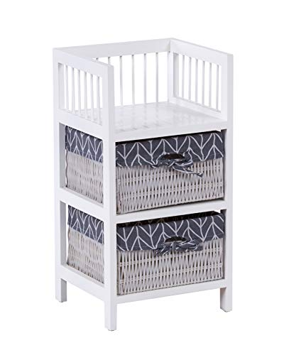 ts-ideen Cómoda estantería estante armario en estilo de la alquería mesa de noche beige blanco con dos cestas
