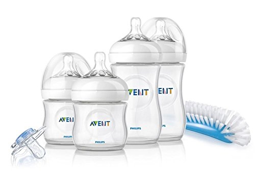 Philips Avent SCD290/01 - Set Regalo gama Natural para recién nacidos, 2 biberones 125 ml, 2 biberones 260 ml, 1 escobilla, 1 chupete, color transparente
