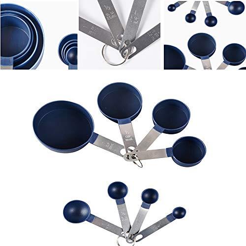 LZL 8 Stück/Set Messbecher aus Edelstahl Messlöffel Stapelbares Messset zum Messen von Koch- und Backflüssigkeit und trockenen Zutaten (Blau)