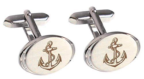 Anker Manschettenknöpfe maritim oval silbern matt-glänzend bräunlicher Gravur + Silberbox