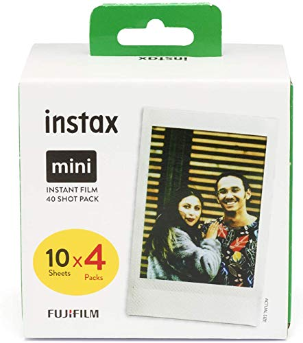 Fujifilm Instax Mini Brillo - Pack de 40 películas fotográficas instantáneas (4 x 10 hojas), color blanco