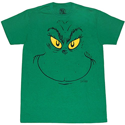 Dr. Seuss Grinch Face T-Shirt (X-Large) Green