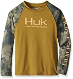Huk Youth Double Header Long Sleeve Shirt | Kid's Long Sleeve Performance Fishing Shirt With +30 UPF Sun Protection, Military Olive Drab/SubPhantis Southern Tier, Youth Small