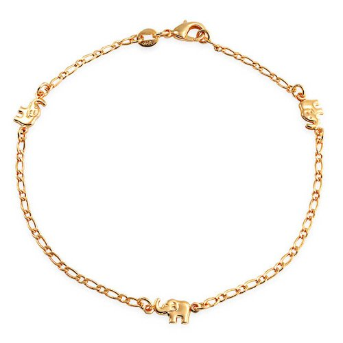 Drei Mulit Glücklich Elefant Charm Fußkettchen Armband Für Damen 18 K Vergoldet Messing 9.5Inch