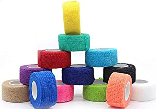 VNDEFUL 6 Rolls Self-Adherent Tape Pressure Wrap Bandage Rolls Stretch Athletic Strong Elastic First Aid Tape for Sports, Wrist, Ankle, 1Inch X 5Yards (Color Random)