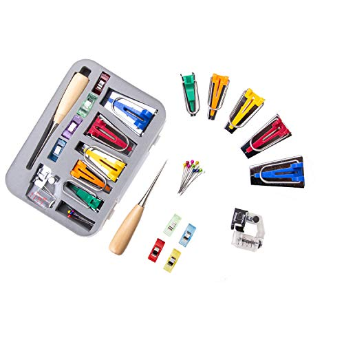 Bias Tape Maker Kit, Sew Kit, Sewing Tape, Binding Tool for Quilting, Bias Tape Makers, Tape Machine - Set of 5 Includes 6mm, 9mm, 12mm, 18mm and 25mm Foot, Awl, Bead Pins Clips Create Seam Projects