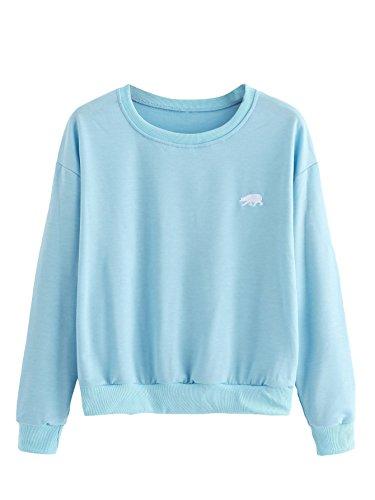SweatyRocks Womens Casual Long Sleeve Pullover Sweatshirt Alien Patch Shirt Tops (Small, Blue_Bear)