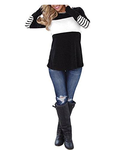 Blooming Jelly Women's Long Sleeve Round Neck Elbow Patched Color Block Stripe Shirt Tops(XL),Black