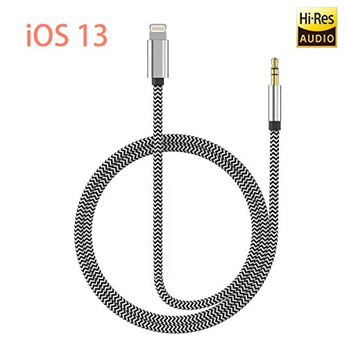 [Apple MFi Certified] iPhone Aux Cord for Car, Lightning to 3.5mm Audio Stereo Cable Compatible for iPhone 11/11 Pro/XS/XR/X 8 7,3.3ft Male Audio Adapter for Car Home Stereo &Headphone (Silver)