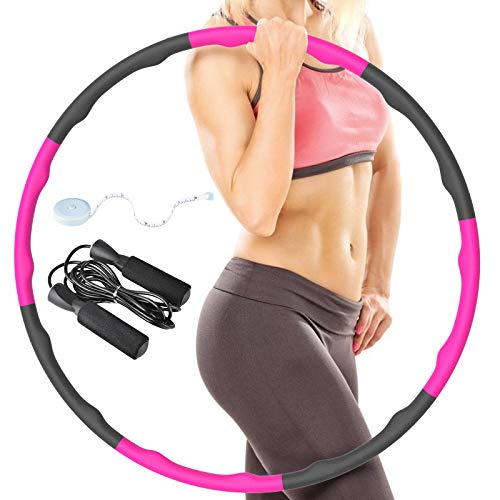 MINLUK Exercise Hoops, 8 Section Detachable Adjustable Weight & Size Plastic Hoop Weight Exercise Hoop, Exercise Hoop For Adults, Soft Foam Hoop With Jump Rope And Mini Measuring Tape, Weighted 2.2Lbs