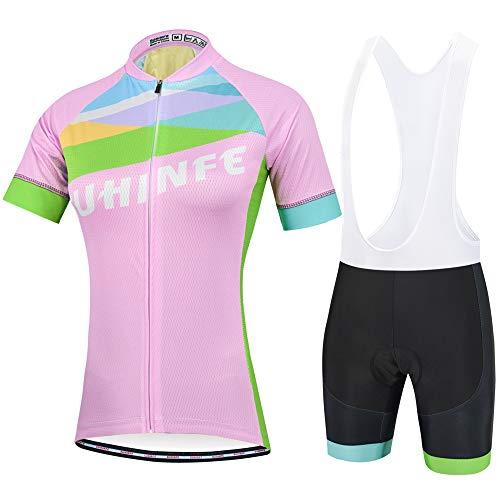 Fahrradtrikot Damen Kurzarm, Radsport-Bekleidung und Radsportshorts mit Reflektierende Streifen und Rückentaschen für MTB, Sommer, Rosa, M