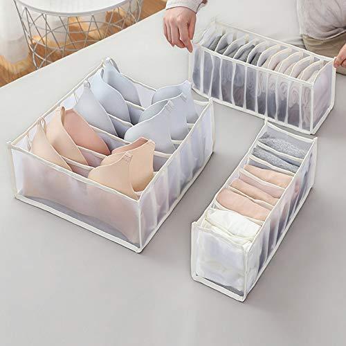 LEEDY 3PC Aufbewahrungstasche Unterwäsche Aufbewahrungsbox mit Fächern Socken BH Unterhosen Organizer Atmungsaktiv Faltbar