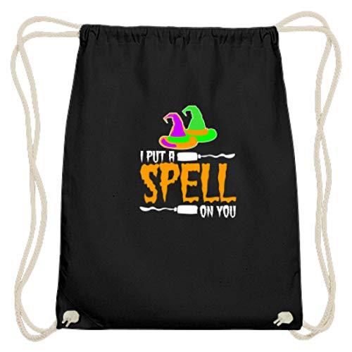 SPIRITSHIRTSHOP I Put A Spell On You - Hexenhut Und Hexenbesen - Baumwoll Gymsac -37cm-46cm-Schwarz