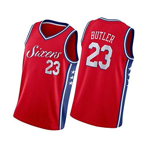 Caron Butler Maillot de basket-ball pour homme Philadelphie 76ers 23#, 90s Hip Hop Vêtements pour fête, Broderie T-shirt Respirant Séchage rapide - Rouge - XX-Large