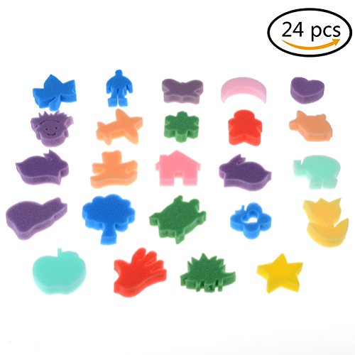 24 Pieces Painting Sponges Art Crafting Painting Sponges for Kids Children in Home, School - Assorted Color and Shapes Send Randomly