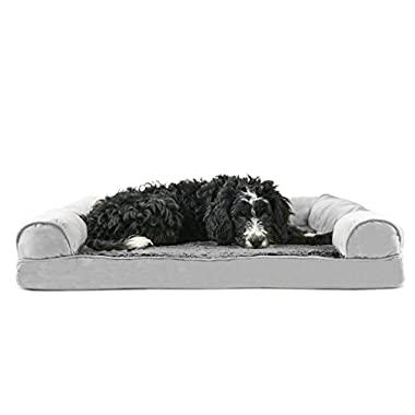 FurHaven Ultra Plush/Velvet Orthopedic Dog Couch Sofa Bed for Dogs and Cats, Plush Gray, Large