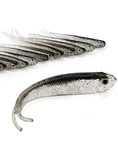 Beoccudo Fishing Lures Bass Bait, Soft Plastic Split Tail Lure Set -24pcs Jerk Minnow Swimbait