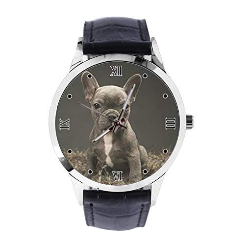 Baby Französische Bulldogge Niedliche Welpe Custom Armbanduhr Unisex Analog Quarz Uhr mit Lederband Uhren für Mädchen Jungen Armbanduhr