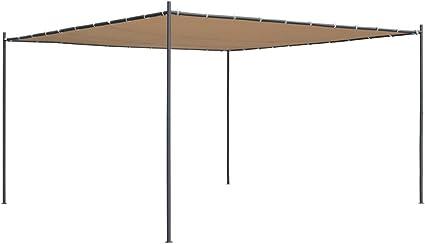vidaXL Cenador con Tejado Plano de Jardín 4x4x2,4 m Beige Carpa Toldo Pérgola