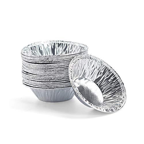 Aluminium-Kuchenbecher, 250 Stück, für Kuchen, Kekse, Pudding, Dessert, Backfolie, Ei, T-Form, silberfarben
