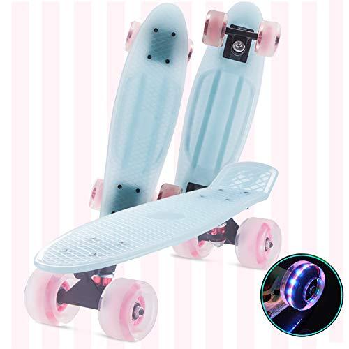 FANGNVREN Skateboard Komplettboard, Mini Cruiser Retro Skateboard Penny Board 57 cm x 15 cm mit LED-Leuchträdern für Kinder Jungendliche Anfänger mädchen Jungs Geburtstagsgeschenk,Blau