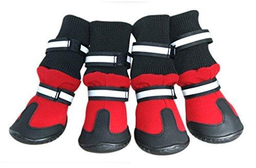 Septven 4 Stück Pfotenschutz Hundeschuhe Wasserdichte Rutschfest Pro-Active Paws Alle Wetter (XL, Rot)