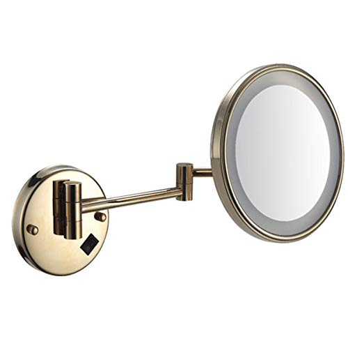 BYCDD LED Miroir Maquillage grossissant Mural, Miroir grossissant 5X Extensible Pliant Makeup Mirror pour l'application de cosmétiques de beauté,Gold_8 inch Plug