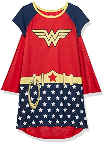 DC Comics Girls Short Sleeve Nightgown with Detachable Matching Cape Wonder Woman Small product image