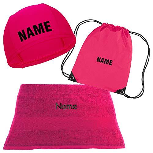 Kinder Badekappe pink mit Namen bedruckt | Turnbeutel Druck mit Name | Handtuch mit Wunschnamen bestickt | Badehaube Schwimmhaube | Schwimmunterricht (Badekappe + Turnbeutel + Handtuch mit Namen)