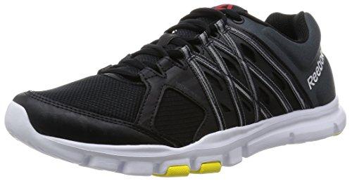 Reebok Yourflex Train 8.0, Zapatillas de Running para Hombre, Negro Gravel White Yellow Spark, 40 EU