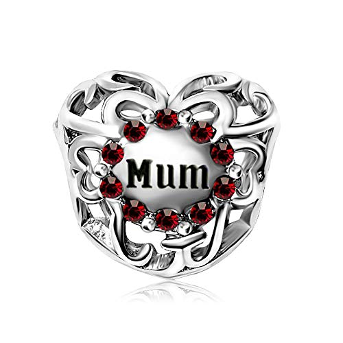 KunBead Jewelry Mum Mother I Love You January Birthstone Red Crystal Heart Charms for Bracelets Birthday Charm