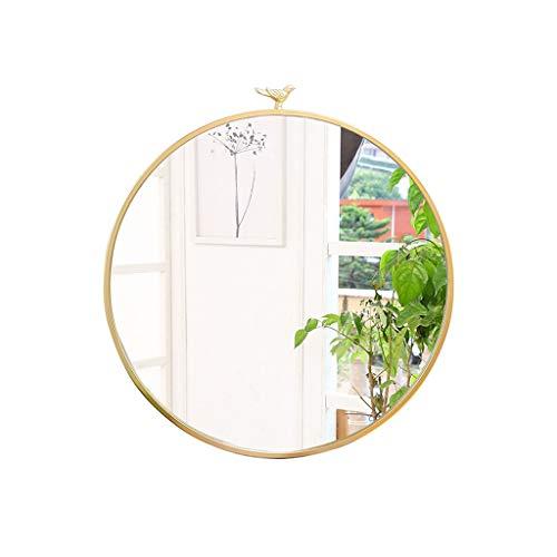 HTDZDX Espejo Redondo Redondo de Metal Ovalado Decorativo Espejo de vanidad para baño del Dormitorio y Sala de Estar en 3 tamaños (Color : Gold, Size : Diameter-50cm)