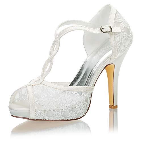 Emily Bridal Zapatos Nupciales Encaje Peep Toe Correa de Tobillo Zapatos de...