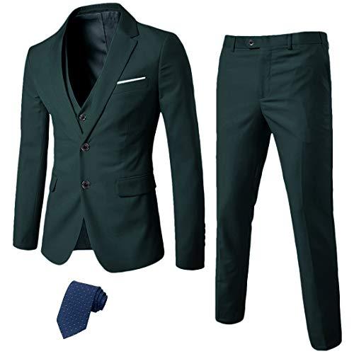 MYS Men's 3 Piece Slim Fit Suit Set, 2 Button Blazer Jacket Vest Pants with Tie, Solid Wedding Dress Tux and Trousers Deep Green