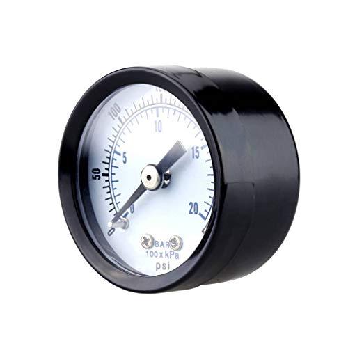Lorsoul Probador Metro 0-20bar 0-300psi Mini Indicador de presión del manómetro del...