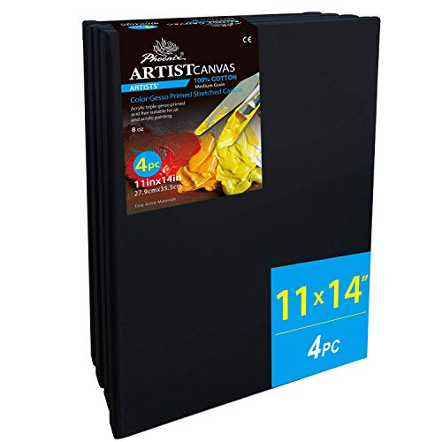 PHOENIX Black Blank Cotton Stretched Canvas - 11x14 Inch/4 Pack - 3/4 Inch Profile Quadruple Primed for Oil & Acrylic Paint, Collages, Advertising Poster & Decorating Projects