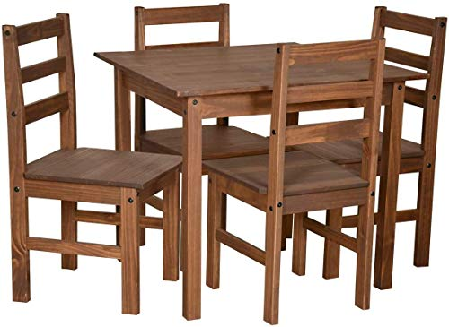 Furniture 321 Corona Sofia Dining Set in Dark Wax Finish Colour With Table and 4 Chairs (No Delivery To Flats)