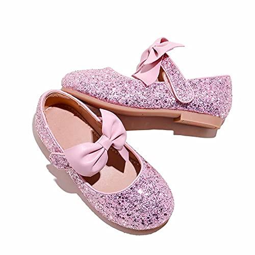 Zapatos Princesa Niñas Zapatos Purpurina Niña Bailarina Zapatos de Tacón Lentejuelas Antideslizante Zapatillas de Baile para Vestir Fiesta Cumpleaños Boda, Rosa, Talla 30 EU