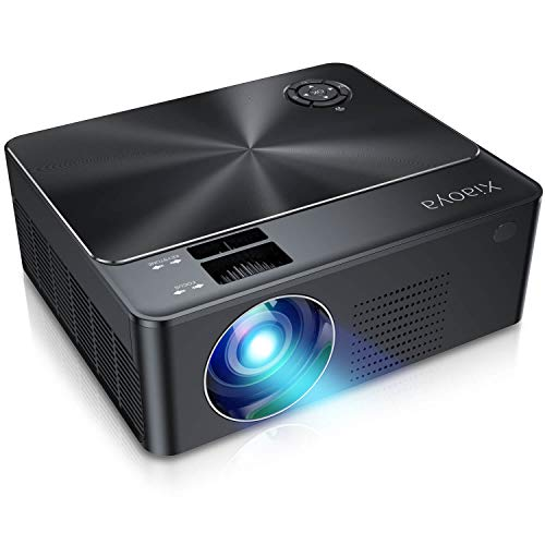 XIAOYA Outdoor Projector, HD Movie Projector Support 1080P, 4000 Lumens Home Theater Projector with HiFi Speaker, Compatible with HDMI, Fire Stick, USB(Black-w2)