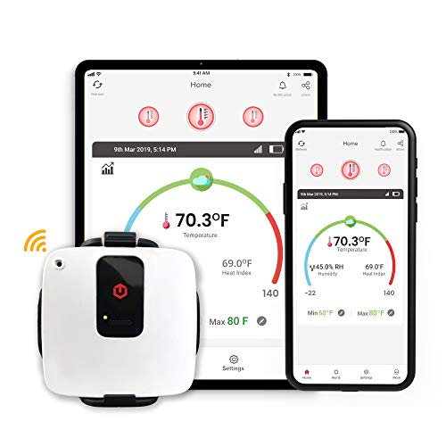 tempCube WiFi Temperature & Humidity Sensor | Wireless Remote Temperature Monitor with USB-Powered Rechargeable Battery | Free 24/7 Email & SMS Alerts | Free iOS/Android App (tempCube, White, 1)