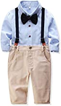 Baby Boys Clothes Set Long Sleeve Bow Tie T-Shirt+Suspender Pants Gentleman Outfits Suits (Blue, 12-18 months/90)