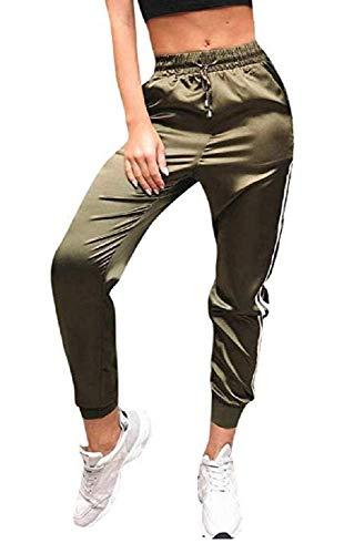 Pantalon de Sport pour Femme - élégant - décontracté - Mode - Fitness - Jogging - Sport - survêtement - Cordon de Serrage - Poches - Satin - Transparents - Vert Militaire - Taille l